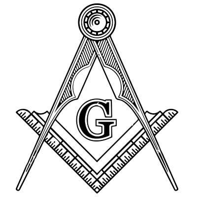 Masoński cyrkiel i węgielnica z wpisaną literą G
